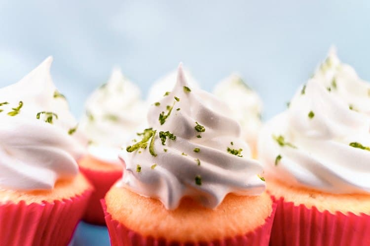 cupcakes with piped Italian buttercream and lime zest