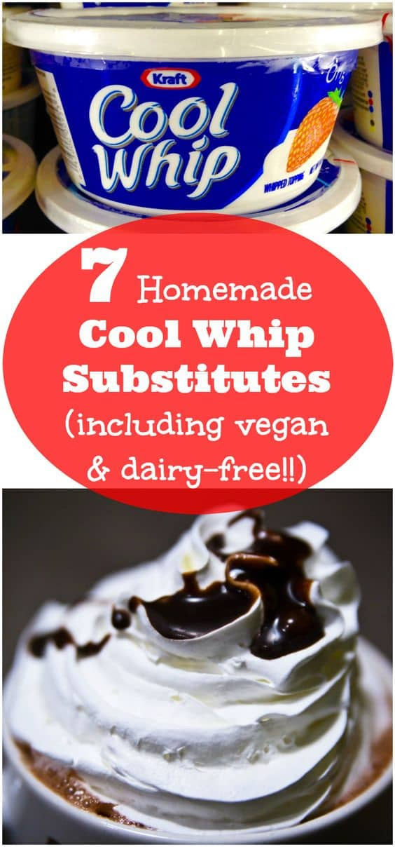 7 Homemade Cool Whip Substitute Recipes. Including a vegan Cool Whip Substitute and Dairy-free options. | pastrychefonline.com