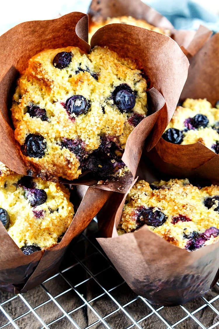 close up of blueberry muffins