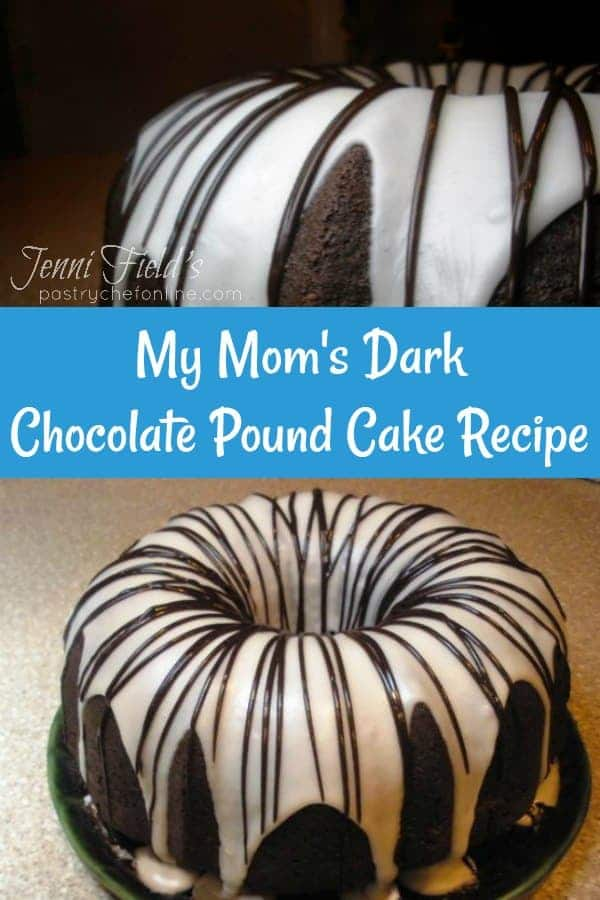 "collage of two views of a chocolate pound cake with white glaze and chocolate drizzle divided by white text on a blue background and reading ""My Mom's Dark Chocolate Pound Cake Recipe"""