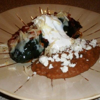 Wednesday Night Supper:  Vegetarian Stuffed Poblano Peppers