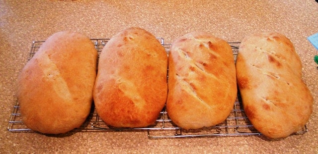 4 baked loaves of bread