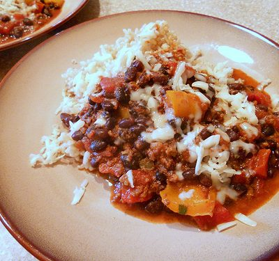 Sunday Suppers (Tuesday Edition):  Black Bean and Bell Pepper Chili, Chorizo Optional