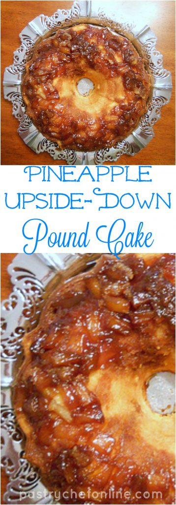 Pineapple Upside Down Pound Cake takes the gooey, brown sugar and pineapple topping from pineapple upside down cake and marries it with pound cake batter made with pineapple juice for the very best in two kinds of cake. Enjoy!