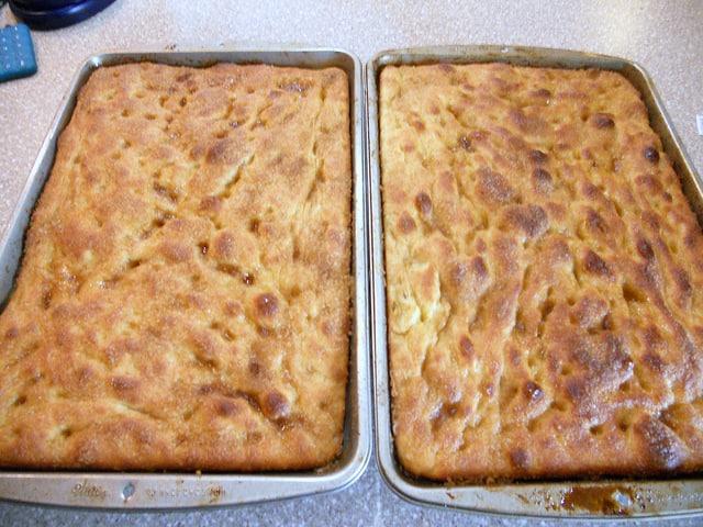 2 baked pans of Moravian sugar cake