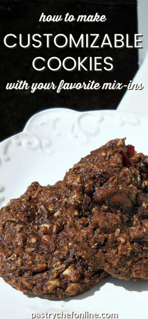 """chocolate cookies on a plate text reads """"how to make customizable cookies with your favorite mix-ins"""""""