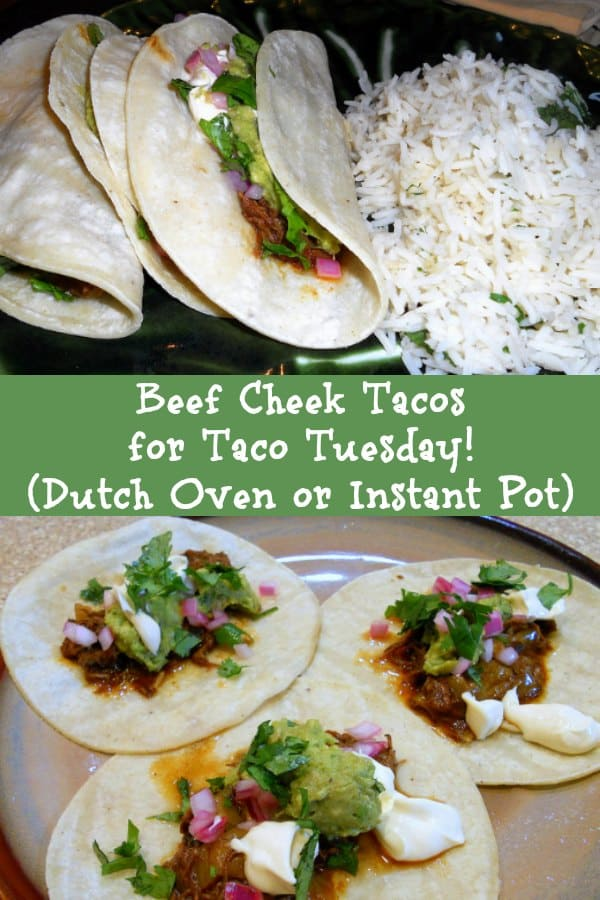 Beef Cheek Tacos with Cabbage are the tacos you never knew you needed. Incredibly Flavorful and tender once braised, beef cheeks may be your new go-to meat for Taco Tuesday! Make them in a Dutch Oven or use your multi cooker/Instant Pot if you are pressed for time. Either way, you'll love these tacos for your next Taco Tuesday!