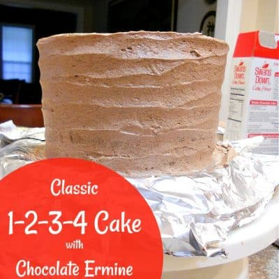 1-2-3-4 Cake with Chocolate Ermine Frosting