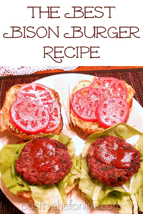 """two bison burgers with lettuce, tomatoes and special sauce text reads """"The best bison burger recipe"""""""