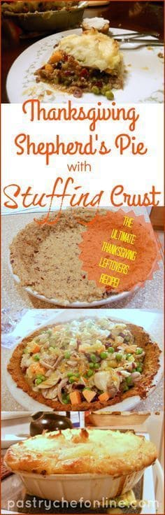 collage of photos of how to make thanksgiving shepherd's pie with stuffing crust.