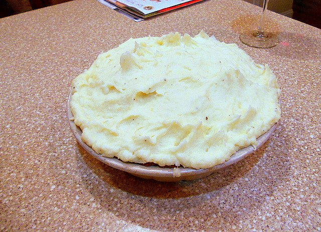 Shepherd's pie with the mashed potatoes spread on top.