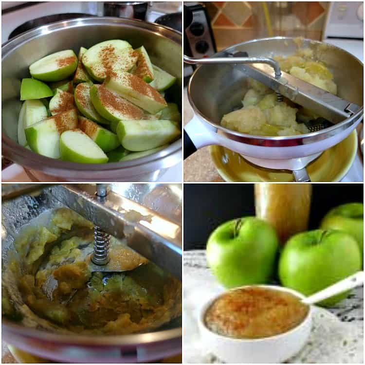 collage of four images of making applesauce: sliced apples with cinnamon in a pot, pressing cooked apples through a food mill, a food mill with green apple skins left behind from pressing and a bowl of applesauce sprinkled with cinnamon