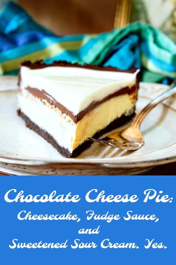 This chocolate cheese pie is a little bit cheesecake, a little bit fudge sauce, a little bit sour cream, and a whole lot of delicious. #pie #cheesecake #dessert | pastrychefonline.com