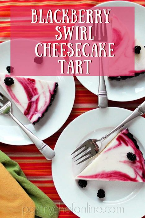"3 pieces of cheesecake tart on 3 plates. text reads ""blackberry swirl cheesecake tart"""