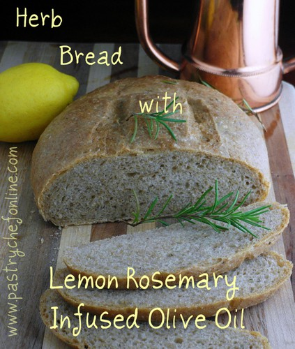 herb bread with lemon rosemary infused olive oil