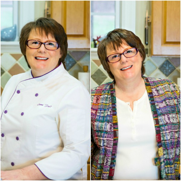 two head shots of pastry chef and blogger Jenni Field, one in her chef whites and one in street clothes.