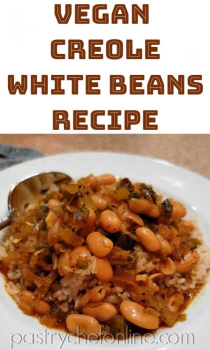 "plate of vegan white beans over rice text reads ""Vegan Creole White Beans Recipe"""