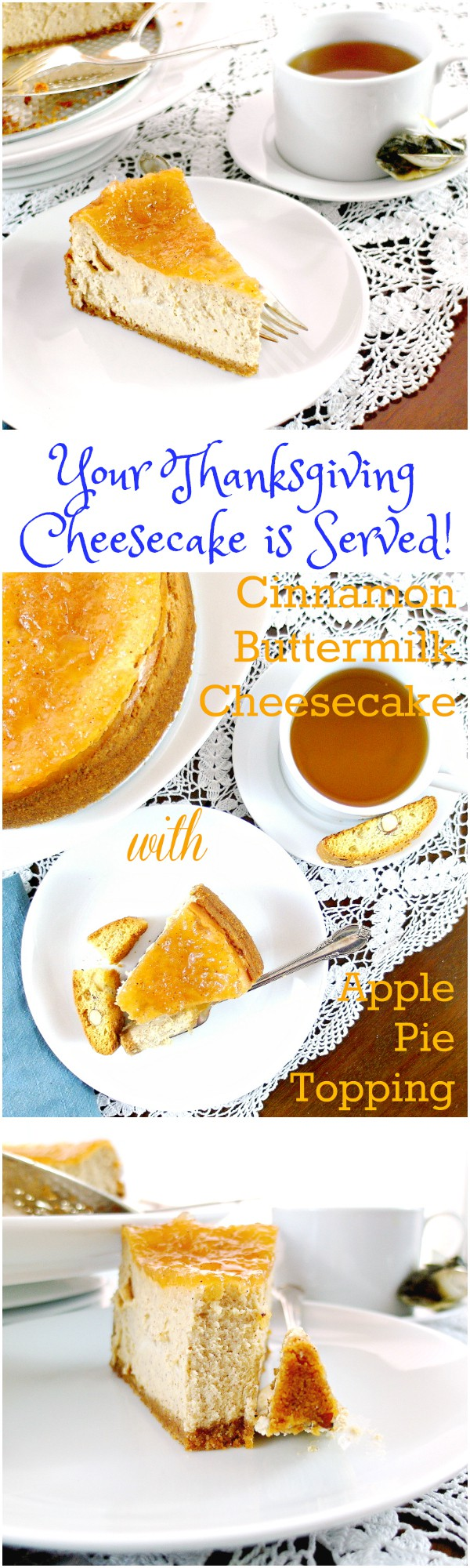 Cinnamon Buttermilk Cheesecake with Apple Pie Topping is the perfect lighter-yet-still-decadent dessert for your Thanksgiving table. The tang from the buttermilk makes it seem lighter, and the cinnamon and apple pie topping still make it feel like a fall dessert. You are going to love this delicious cheesecake recipe! | pastrychefonline.com
