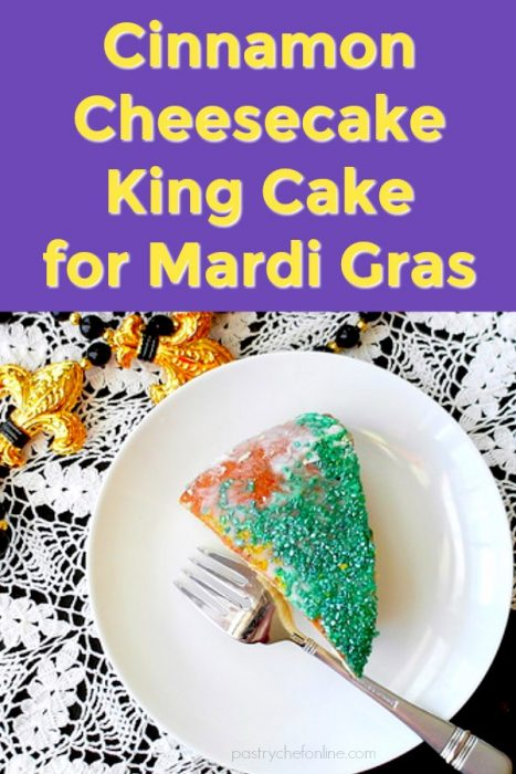 slice of king cake with green sugar on a white plate text reads cinnamon cheesecake king cake for Mardi Gras
