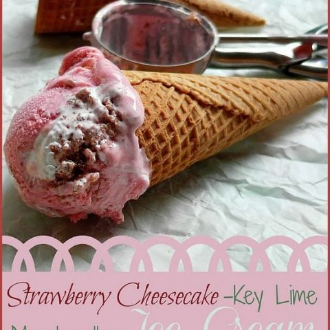 Strawberry Cheesecake Key Lime Marshmallow Ice Cream for Ice Cream Tuesday, Mallow Edition