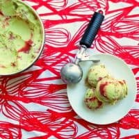 Vegan Coconut Avocado Ice Cream with Strawberry-Hibiscus Swirl