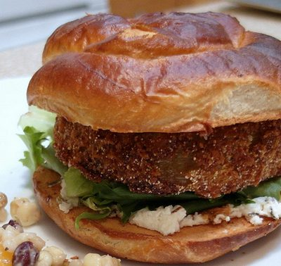 "Fried Green Tomato ""Burgers"" with Herbed Chèvre and Balsamic for Sunday Supper (Monday Edition)"