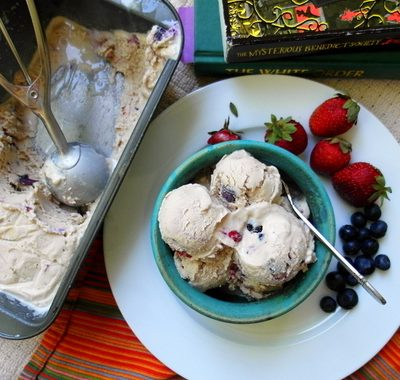 Fruit Dip Ice Cream with Roasted Summer Berries for Ice  Cream Tuesday