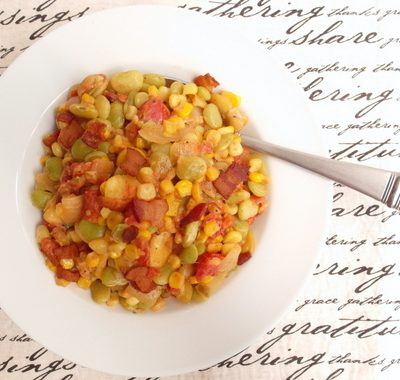 Spicy Succotash with Bacon and Fava Beans for Progressive Eats