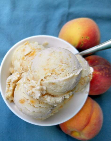 Browned Butter Peach Buttermilk Ice Cream