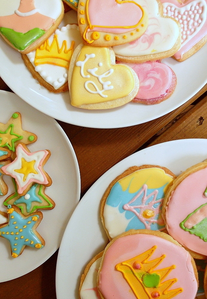 decorated shortbread cookies on plates