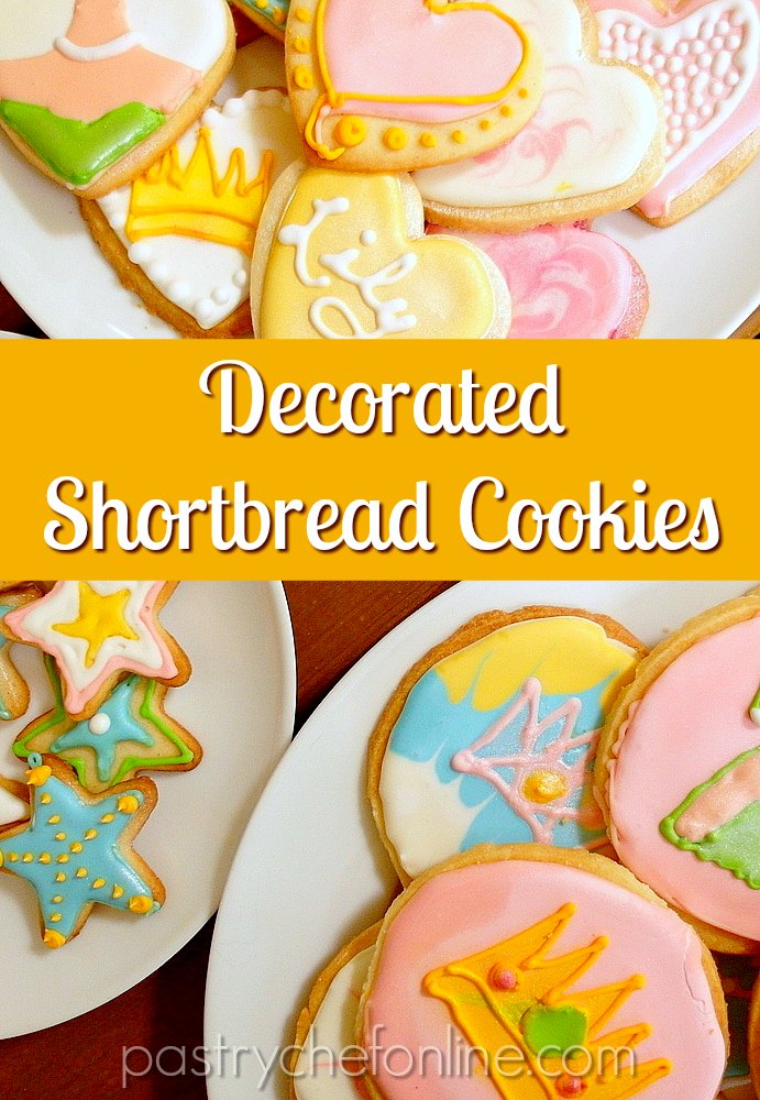 "overhead shots of white plates with decorated shortbread cookies Text reads ""decorated shortbread cookies"""