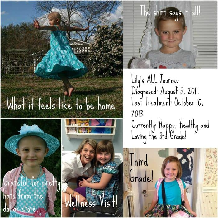"collage of photos of Lily. Text reads ""Lily's ALL Journey Diagnosed: August 5, 2011. Last Treatment: October 10, 2013. Currently: Happy, Healthy  and Loving the 3rd Grade!"
