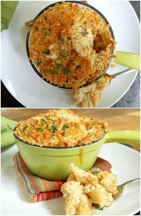 two images of baked mac and cheese