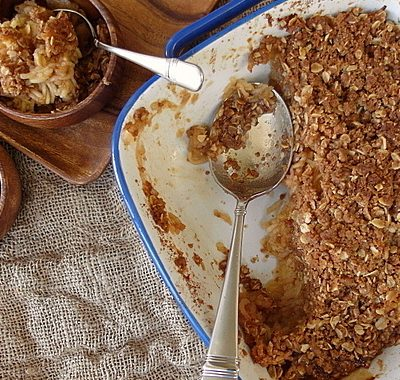 Vegan Boozy Shredded Apple Crisp | #tbtfood