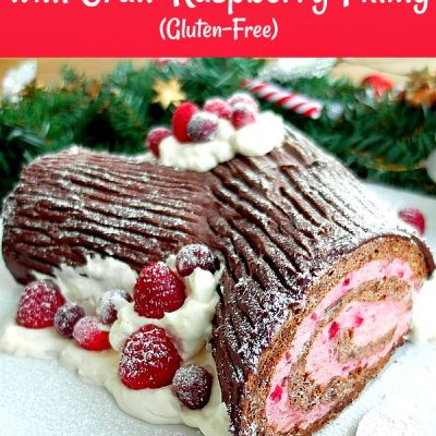 Gluten-Free Chocolate Yule Log with Cran-Raspberry Filling