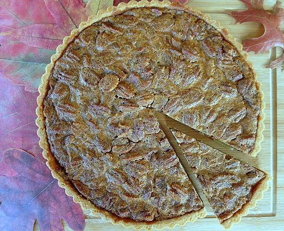 coffee pecan tart in a shortbread crust