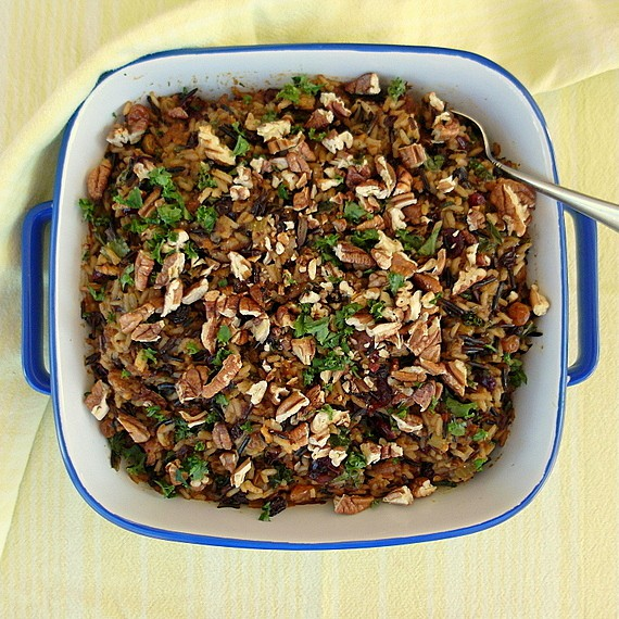 wild rice stuffing with dried fruits in a square baker
