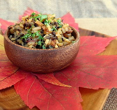 White and Wild Rice Stuffing with Dried Fruits and Kale | Pacific Merchants Giveaway