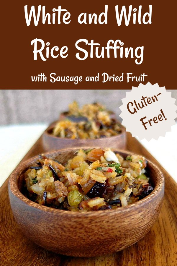 This gluten-free stuffing is made with chewy wild rice and mellow white rice along with sausage and dried fruits. A lighter alternative to bread stuffings, this wild rice stuffing is a little spicy, a little bit chewy, and a little bit sweet. Rice stuffing for Thanksgiving, gluten-free and delicious! #glutenfreerecipes #Thanksgivingrecipes