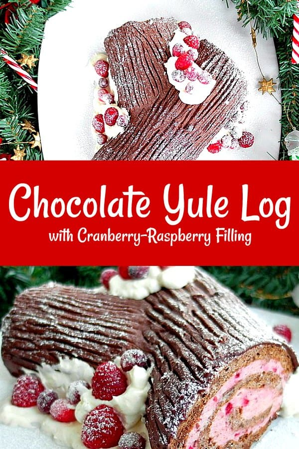 Gluten-Free Chocolate Yule Log with Cran-Razz Filling