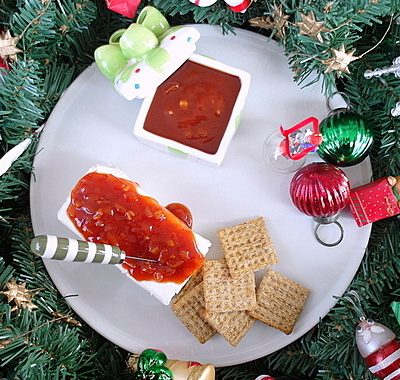 Cream Cheese and Red Sauce for #tbtfood, Holiday Edition