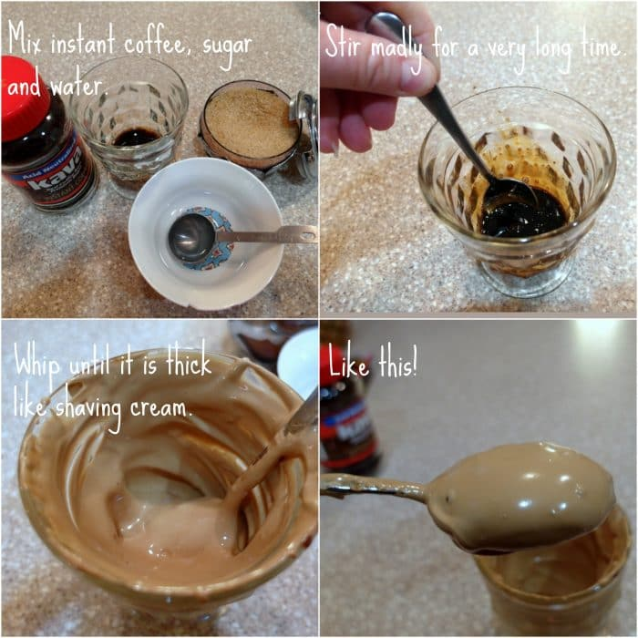 collage of images showing how to make beaten coffee