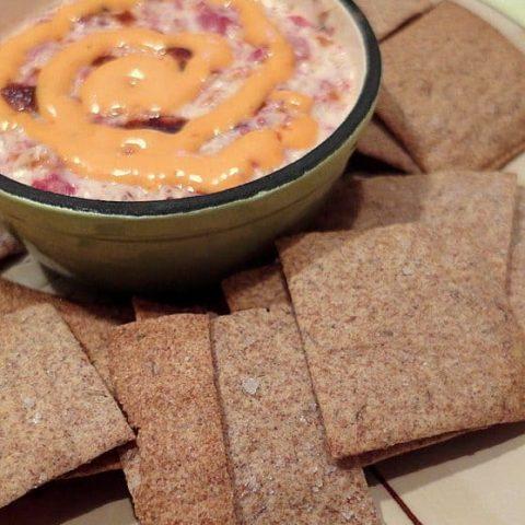 Caraway Rye Crackers with Reuben Spread