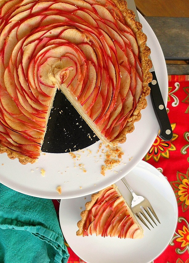 overhead shot of chai apple cheesecake tart with concentric rings of thin apple slices and a cut slice of the tart