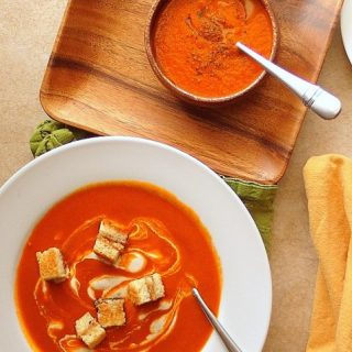 Cajun Spiced Tomato Soup (with Grilled Cheese and Bacon Croutons)