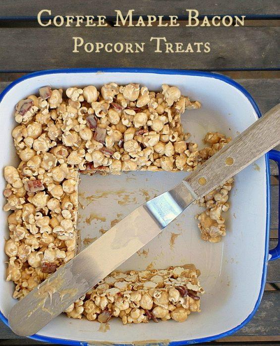 coffee maple bacon popcorn treats 4words