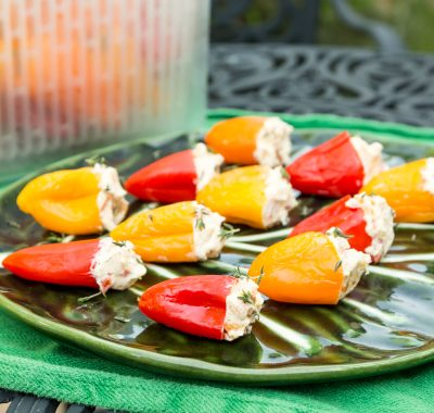 Tangy Pickled Peppers Stuffed with Herbed Goat Cheese for OXO GreenSaver and Melissa's Produce