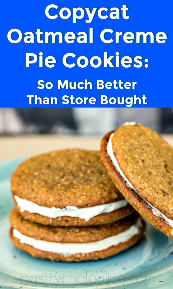 """3 oatmeal cream pies on a blue plate Text REads """"copycat oatmeal creme pie cookies So much better than Store-Bought:"""