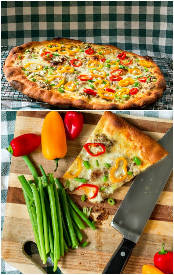 Sausage Gravy Pizza with Peppers and Onions for #BreadBakers