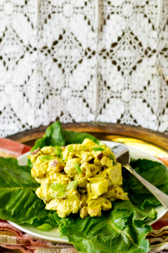 coronation chicken salad on a bed of lettuce